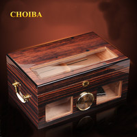 Luxury See through Glass Window High Glossy Finish Cuban Cigar Humidor Nice Storage Box with Lock Hygrometer