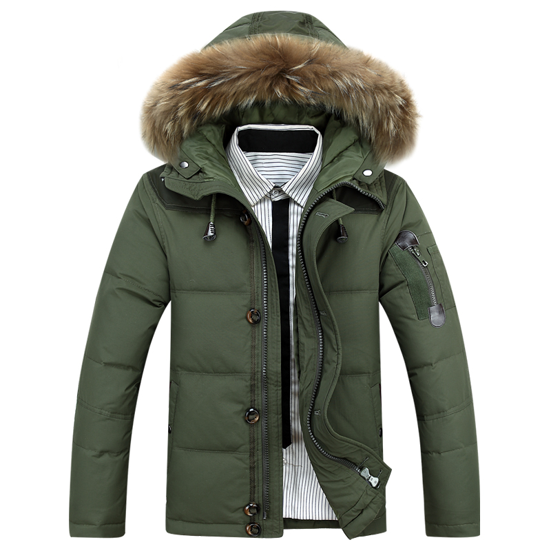 Mens winter Hoodies quilted jacket warm men overcoat parkas Winter cotton padded down coat military male coat with fur hooded