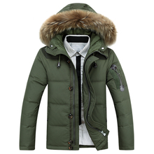 Men's winter Hoodies quilted jacket warm men overcoat parkas Winter cotton padded down coat  military male coat with fur hooded