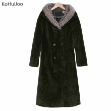 S-3XL Plus Size Winter Thick Wool Blend Coats Women Double Breasted Sheep Cut Cashmere HoodedWoolen Long Overcoat Korean Jacket