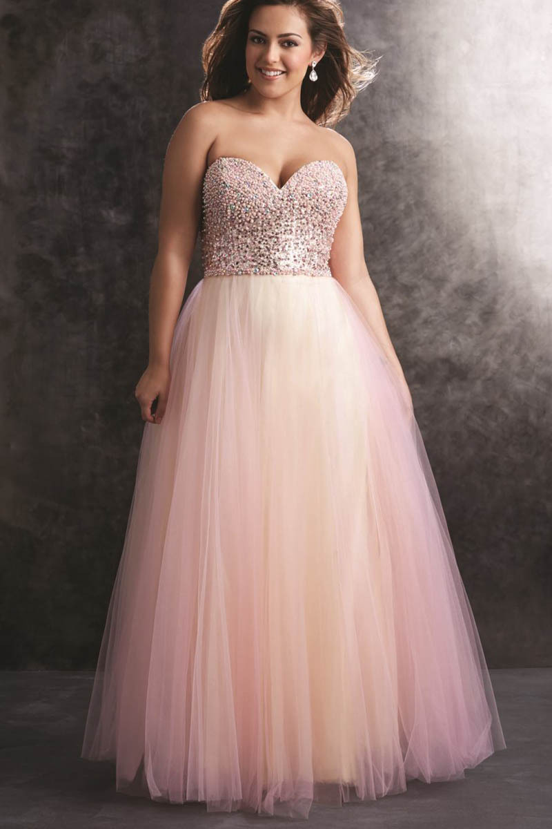 Pink Hand Beaded Pearls Plus Size Prom Dresses Peach Shiny ...