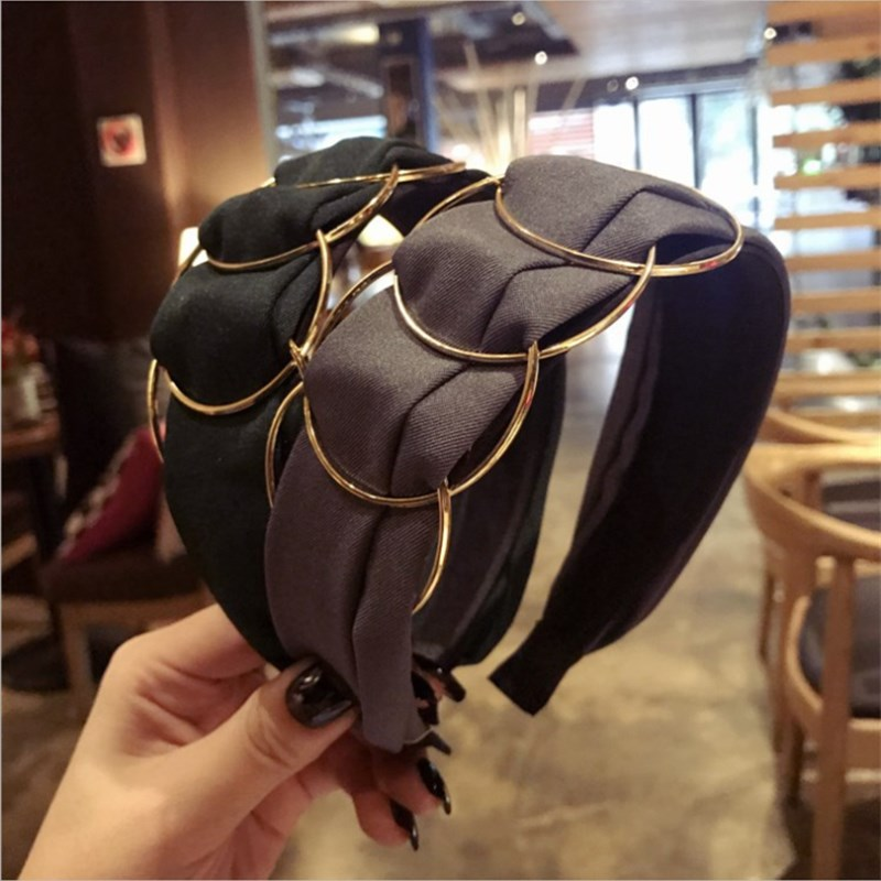 New High-end Boutique Hair Accessories Women's Gold Ring Cross Stitching Fabric Wide-brimmed Fashion Hairband Headband Hair Band