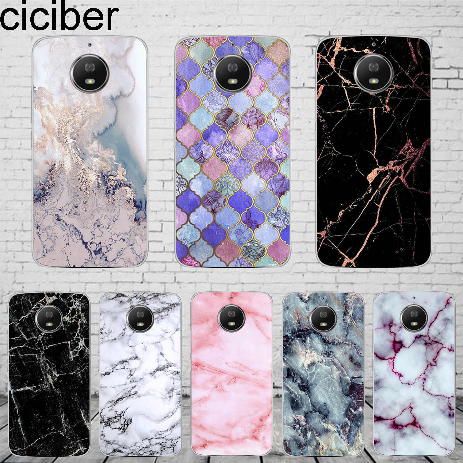 ciciber Colored Marble Cover For Motorola Moto C Z2 Z3 ONE P30 G4 G5 G5S G6 E3 E4 E5 Play Plus Power M X4 Phone Case Soft TPU