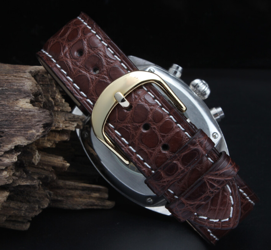 16 mm 18 mm 19 mm 20 mm 21 mm 22 mm juodos rudos spalvos aligatorius - Laikrodžių priedai - Nuotrauka 4