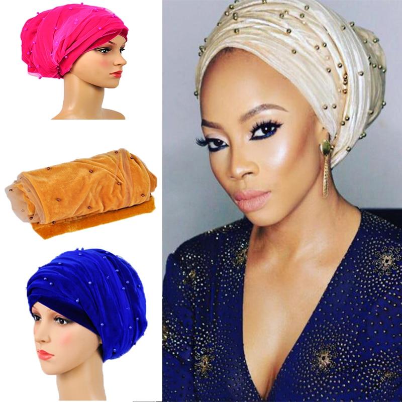 HQT12 African scraf gele 9colors korálky čistý turban Solidní africké headtie gele headwrap hot sale lady turban women headtie.