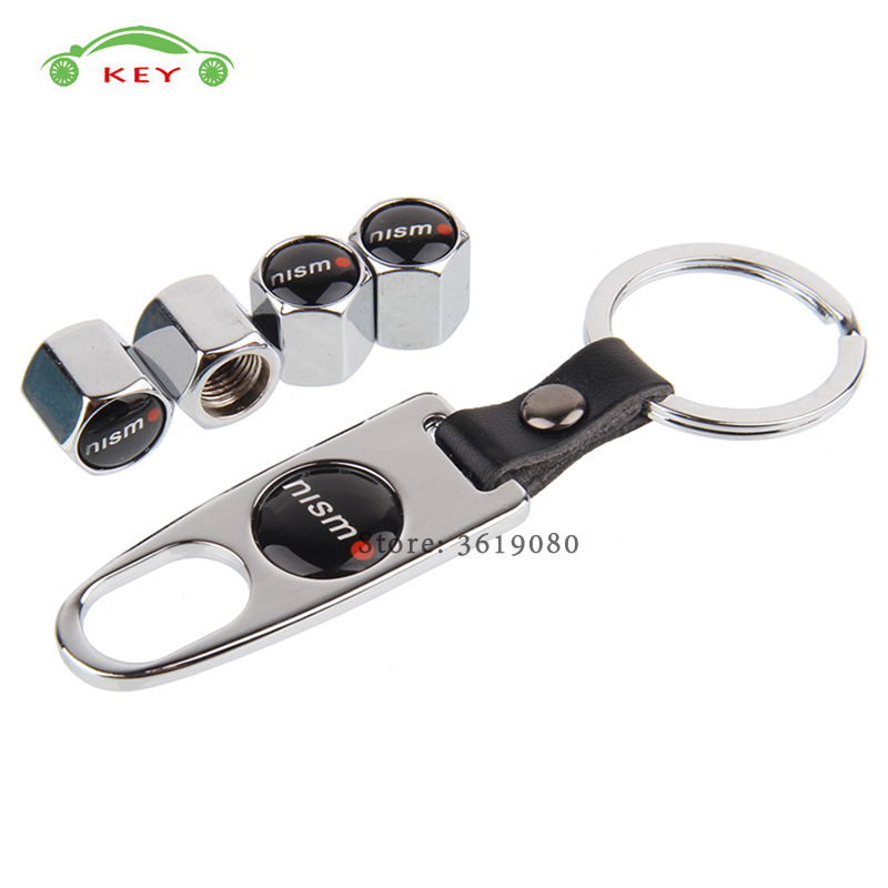 Car Styling Metal Wheel Stem Covers Auto Tire Valve Caps with Keychain for Nismo Logo for Nissan skyline juke note Qashqai versa