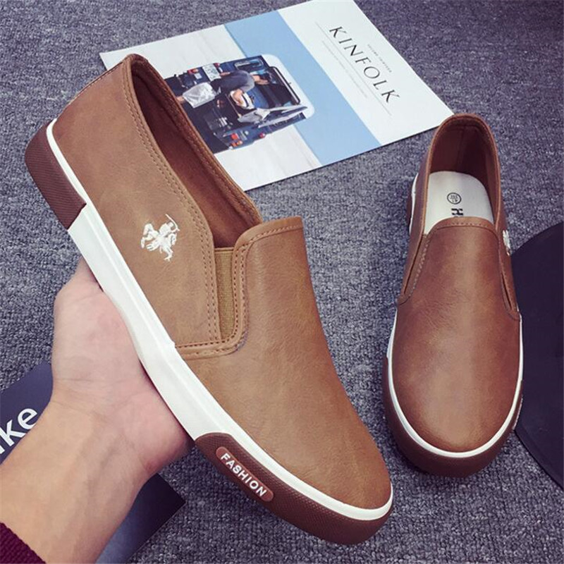 цена на New men's leather shoes retro four seasons shoes low to help a pedal lazy business casual shoes men Sneakers shoes