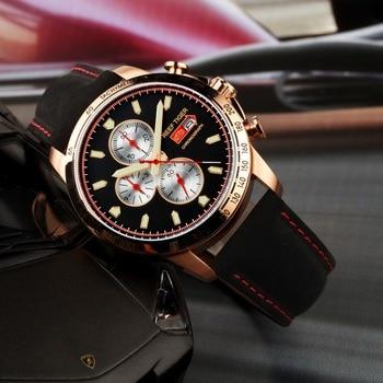 Reef Tiger Brand Mens Watches Waterproof Sport Chornograph Quartz Luxury Leather Luminous Watch Men Sport reloj hombre RGA3029