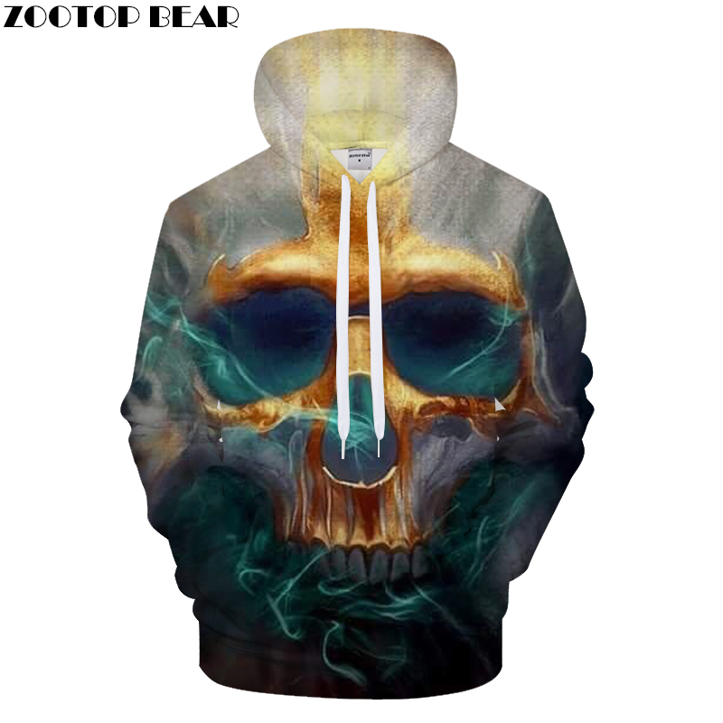 Terrior 3D Skull Hoodies Men Hoody Printed Tracksuit Casual Sweatshirt Long Sleeve Coat Streatwear Pullover Asian size DropShip