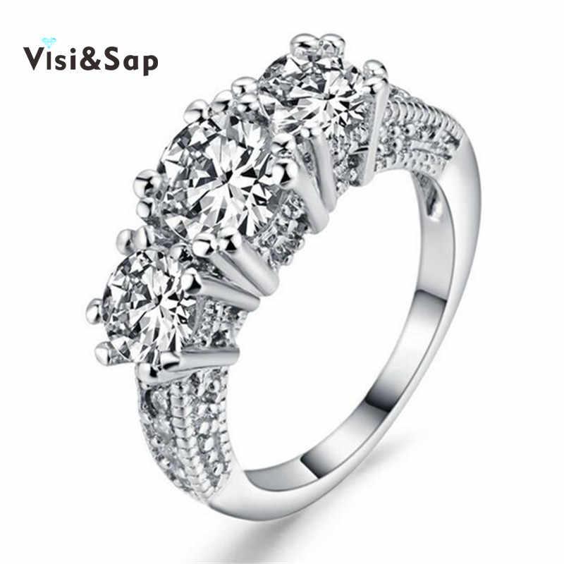 366a5f9b2f64 Visisap белый цвет золотистый кольцо бриллиантовая огранка кубических  ювелирных обручальные кольца для Для женщин jewelry перепродать