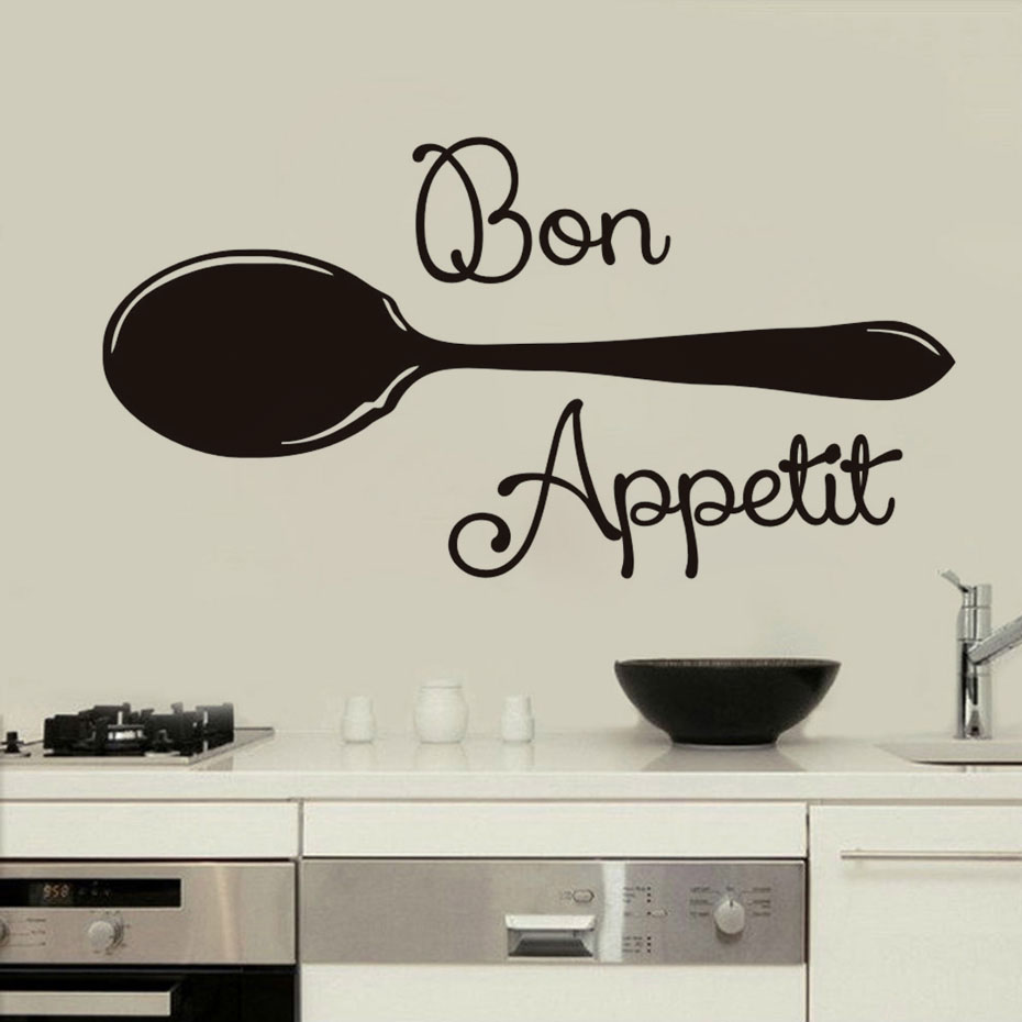 Bon Appetit Wall Sticker For Living Room Kitchen Wall Art Decor Decals Wallpaper For Dining Room Home Decoration A