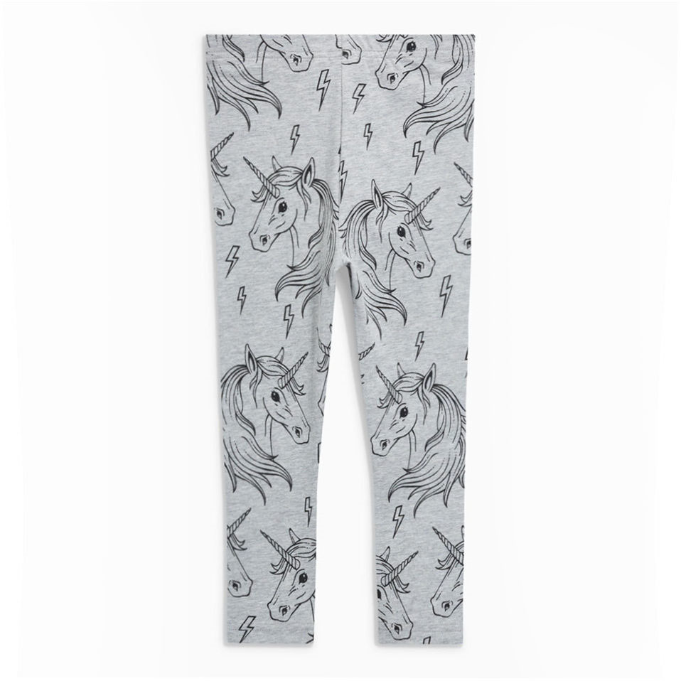 Littlemandy Grey Unicorn Printed Baby Girls Leggings Animal Kids 100% Cotton 2018 Brand New Children Trousers Pants Clothes Sale jumping meters toddler girls leggings kids 100% cotton 2018 brand children trousers girls pants printed baby girls clothes