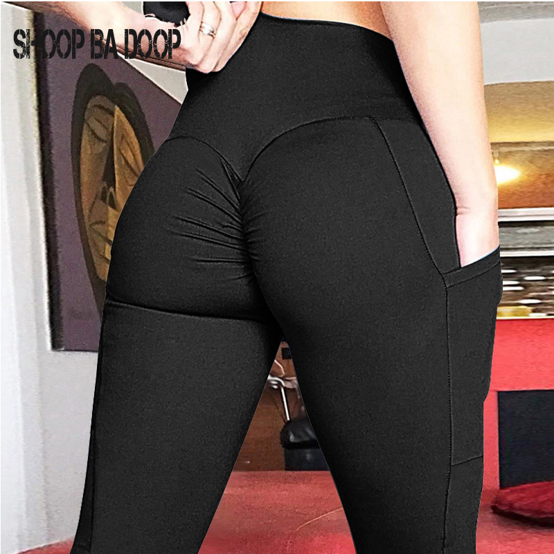 SHOOPBADOOP Yoga Pants Women Tights Active Wear Sports Fitness Leggings Solid Push Up High Waist Mobile