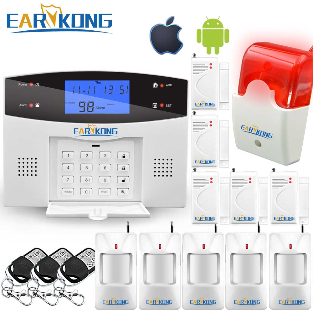 Wireless Wired PSTN GSM Alarm System 99 Wireless 4 Wired Zones Support Relay Output Smart Home Control Support Android IOS APP
