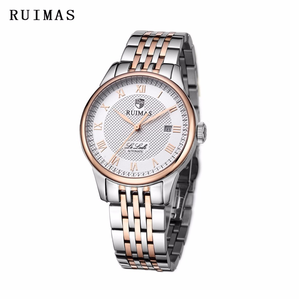 RUIMAS Luxury Top Brand WristWatch For Men Mechanical Watch Business Famous Stainless Steel Relogio Masculino Clock For Gift luxury silver stainless steel antique royal hand winding mechanical pocket watch snake fob chain clock relogio de bolso men gift