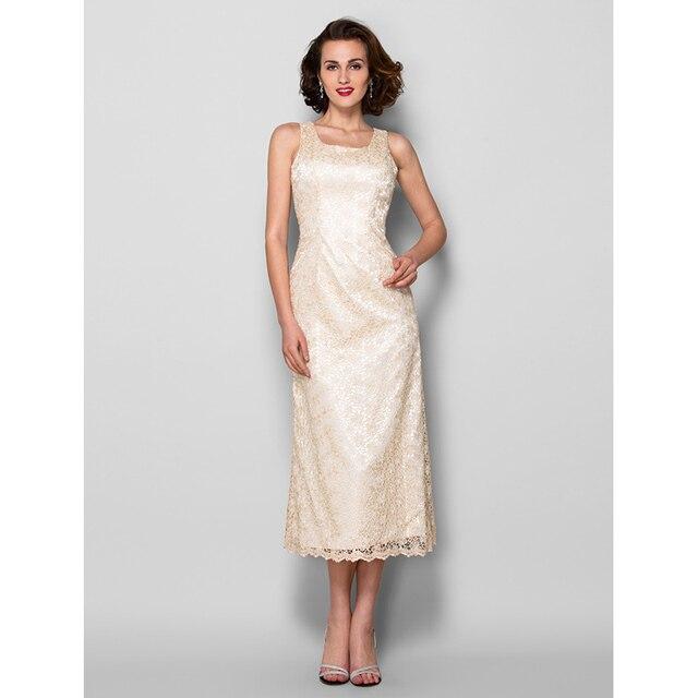 Sheath Column Ankle Length Wedding Dress