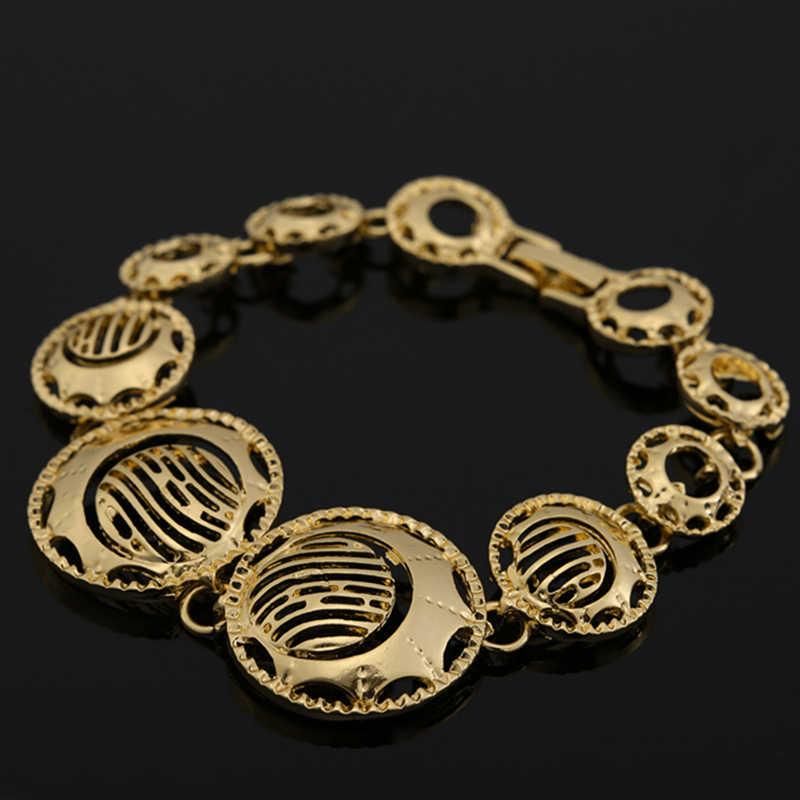 2017 mode afrikanischen perlen schmuck set Gold Farbe Kristall Hochzeit Frauen Braut-accessoires dubai schmuck für Großhandel kunden