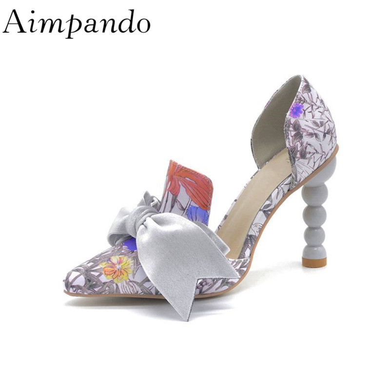 Printed Colorful High Heels Individual Strange Heel Side Cut Out Shallow Butterfly-knot Women Pumps bohemian long sleeve printed cut out women s dress