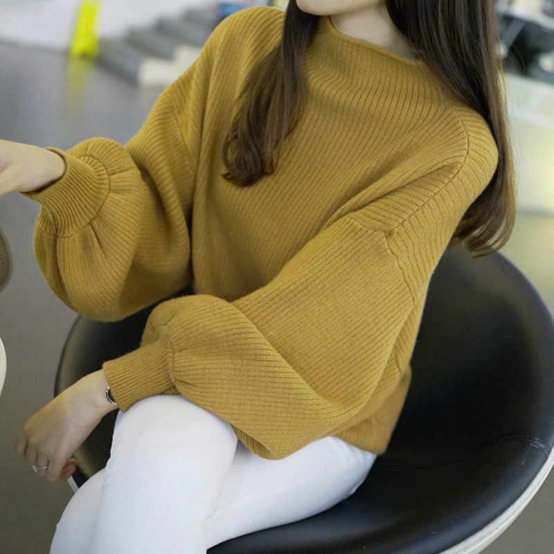 2019 가을 여성 랜턴 슬리브 한국식 니트 스웨터 풀오버 하프 터틀넥 점퍼 탑스 한 사이즈