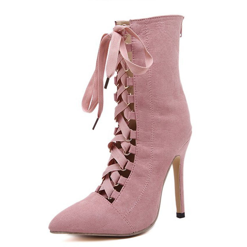 Pink/Black Sapato Feminino High Heel Brand Shoes Women Pre Spring Lace Up Pump Stiletto Gladiator Shoes Short Bootie Ankle Boots guess short pump