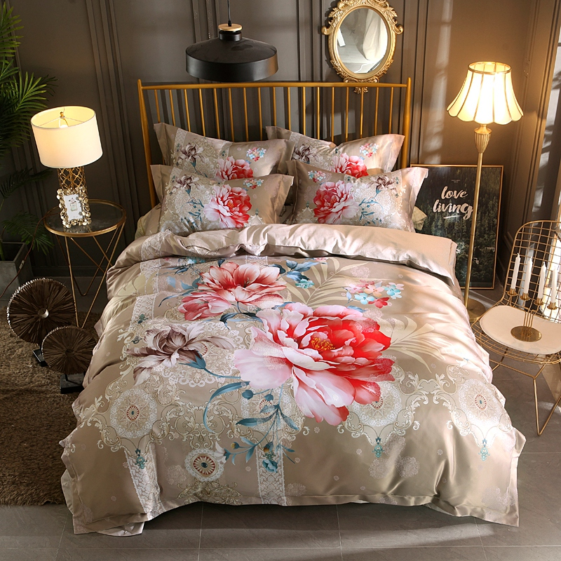 Luxury Silk Cotton Jacquard Classical flowers Bedding Set Digital Printing Duvet cover Bed Sheet Pillowcases Queen King size 4pcLuxury Silk Cotton Jacquard Classical flowers Bedding Set Digital Printing Duvet cover Bed Sheet Pillowcases Queen King size 4pc