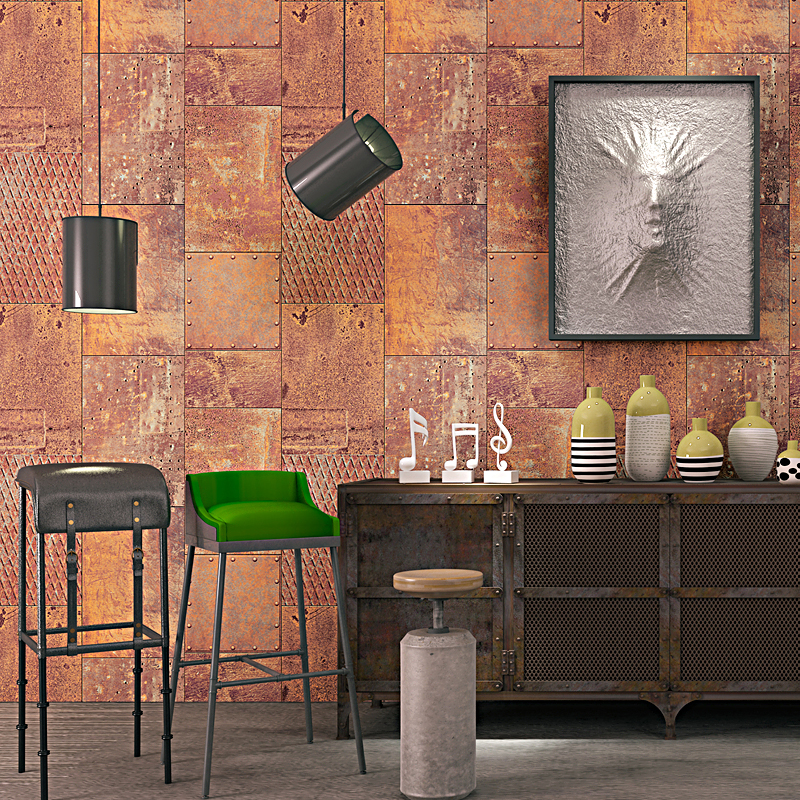 2017 new design industrial wind metal iron sheet wallpaper bar cafe restaurant clothing store loft wallpaper in wallpapers from home improvement on