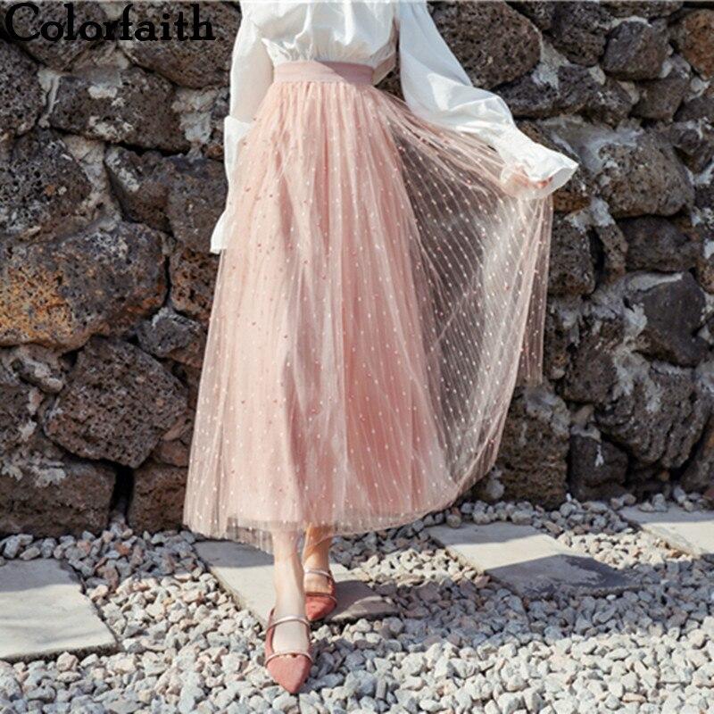 Neue Mode Colorfaith 2019 Frauen Casual Mesh Ausgestelltes Perlen Lange Tutu Rock Frühling Sommer Gefaltete Süße Ballkleid Hohe Taille Weibliche Sk7109