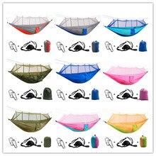 Camping en plein air Parachute hamac moustiquaire Flyknit Double loisirs dormir suspendu chaise tente voyage survie armée vert