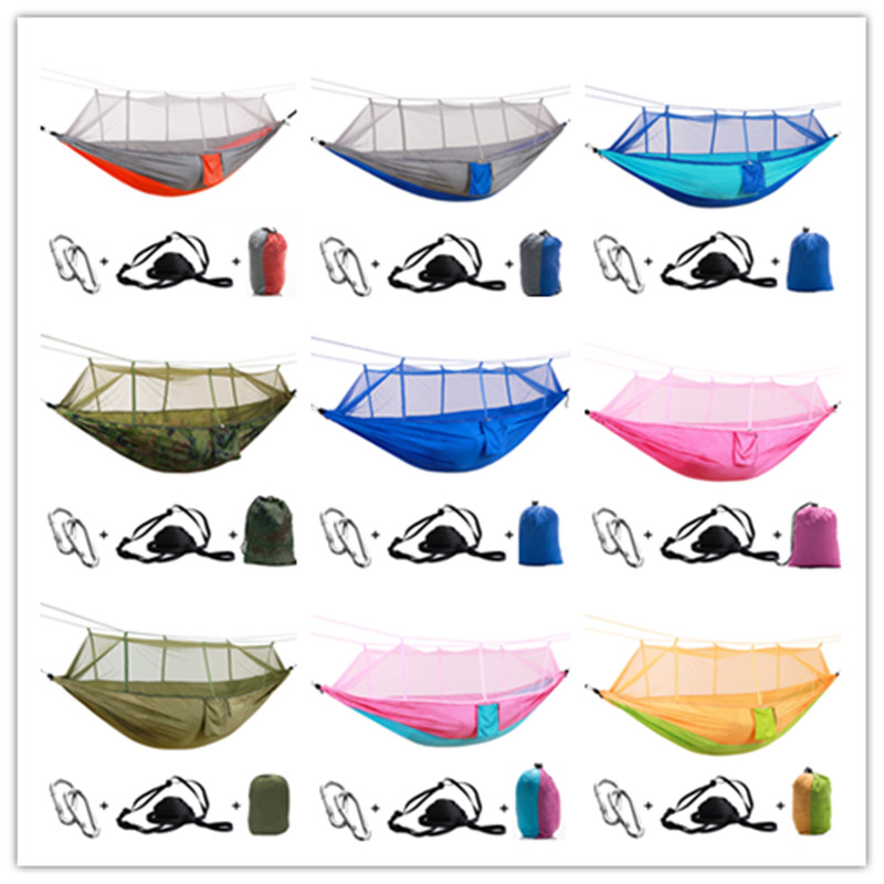 Outdoor Camping Parachute Hammock Mosquito Net Flyknit Double Leisure Sleeping Hanging Tentary Travel Survival Army Green