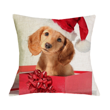 Dachshund Cushion Cover New Year Festival 43X43cm Happy Birthday Sausage Dog Pillow Cases New Year Gift Bedroom Sofa
