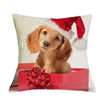 Krásný vánoční povlak na polštářek s obrázkem jezevčíka ve vánoční čepici