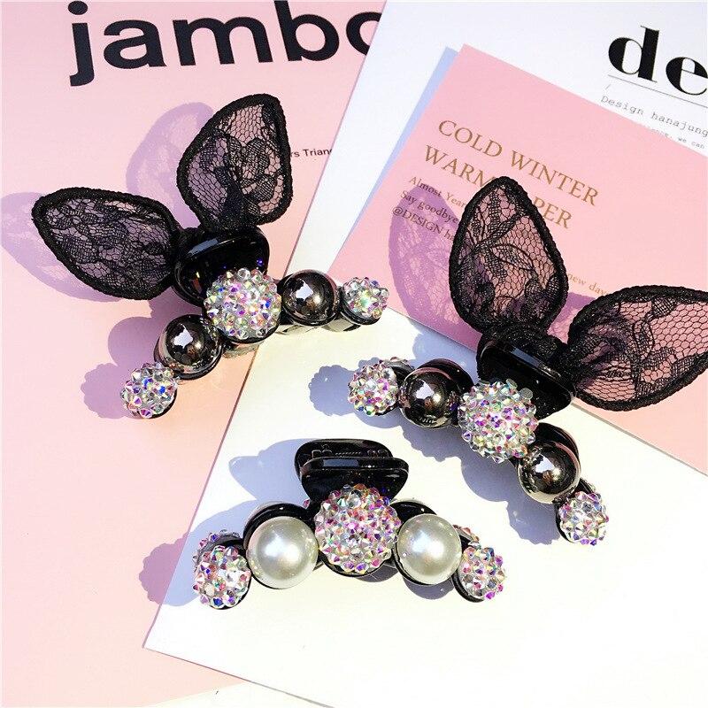 Colorful Pearls Hairpins Lace Rabbit ear Hair Clip Shiny Crab Hair Claws For Women Kids Girl Hair Accessories   Headwear   Ornaments