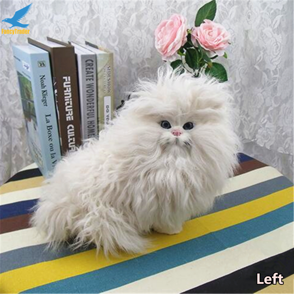 Fancytrader Lifelike Simulation Cute Plush Animal Toy Persian Cat Doll Real Pictures 28X18X21cm