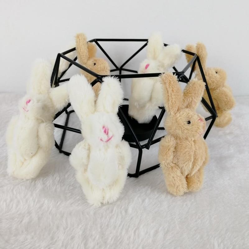 100pc/lot 8cm 2 Colors Soft Mini Joint Rabbit Pendant Plush Bunny For Key Chain Bouquet Toy Doll DIY Ornaments Gifts CMR016