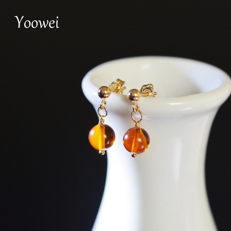 Yoowei Natural Amber Earrings for Women Original 6.2mm Round Cognac Dangle Tiny Earrings Baltic Genuine Amber Jewelry Wholesale