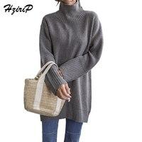 HziriP Turtleneck Pullovers Female Long Sleeve Long Sweater Women Textured Warm Poncho Plus Size S L
