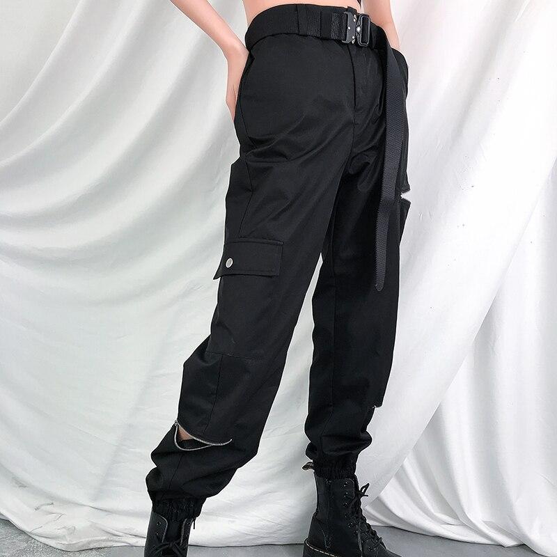 黒ポケットジッパーオープンヒップホップハイウエストのズボン ストリートスタイルシックなヒッピーパンツ女性ストリート夏 Deniz 2019