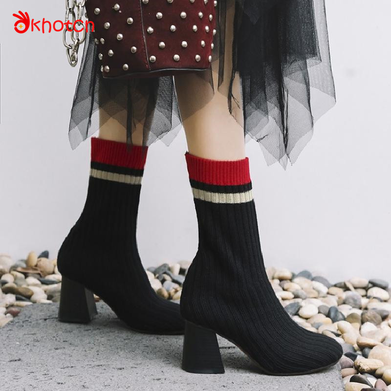 Okhotcn Black Stripe Women's Boots Casual Mid-Calf Round Toe Women Sock Boots Microfiber Female Knitted Boots Zapatos Mujer double buckle cross straps mid calf boots