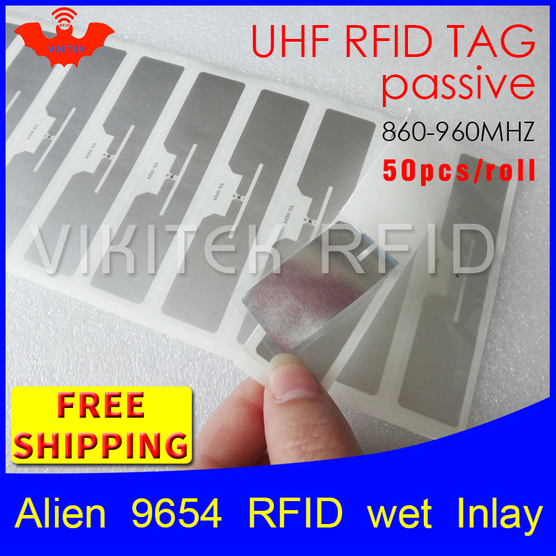RFID tag UHF sticker Alien 9654 wet inlay 915mhz868mhz 860-960MHZ Higgs3 EPC 6C 50pcs free shipping adhesive passive RFID label 1000pcs long range rfid plastic seal tag alien h3 used for waste bin management and gas jar management
