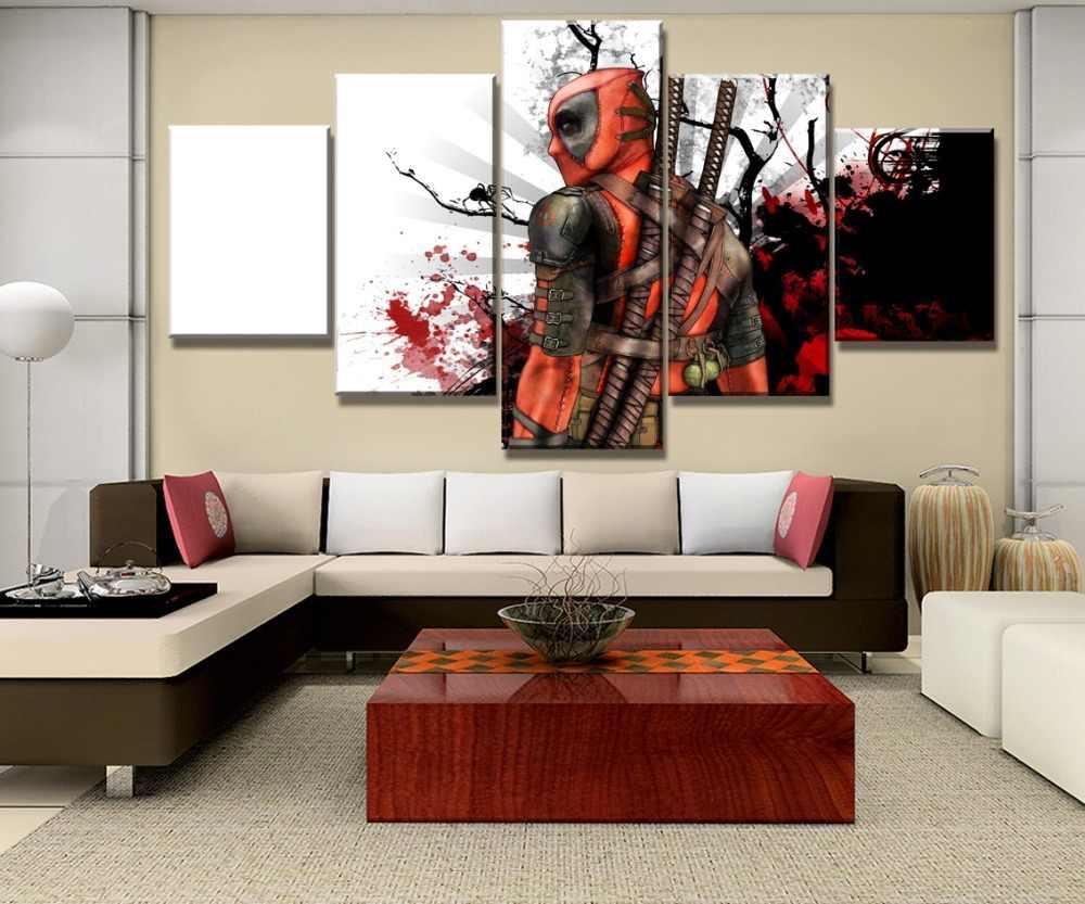 5 шт. HD Печать Большой Дэдпул по мотивам фильмов и постеров современный декоративные картины на холсте стены Искусство предметы интерьера на стену Декор