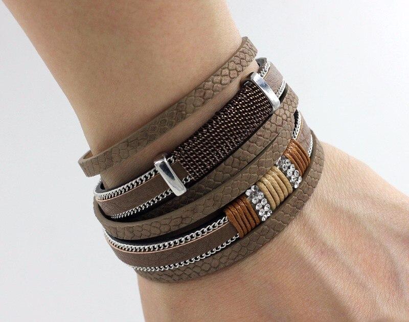 VONNOR Bracelet for Women Men Multilayer Leather Bangle Bracelets Female Jewelry Magnetic Wrap Bracelet Dropshipping 6