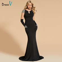 Dressv Zwart Avondjurk Hals Mermaid Korte Mouwen Floor Length Kralen Wedding Party Formele Jurk Avondjurken