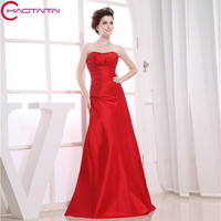 Formales 2017 High Quality Designer Maid Sleeveless Maxi Dresses Custom Size Color Long Red Sexy Bridesmaid