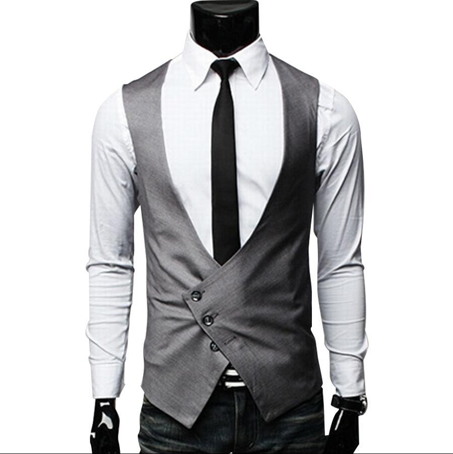 8dd22ace95704c Moda masculina Estilo Britânico Magro Colete Masculino Coon sigle Breasted  Sem Mangas Jaqueta Colete Homens Terno Colete