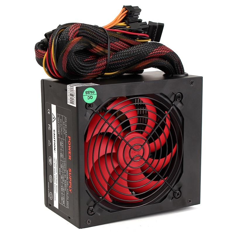 ATX-PC EU Plug 500W 80mm Replacement Cooling Fan ATX 12V Computer Power Supply PC PSU AC 220V Black For Desktop Computers