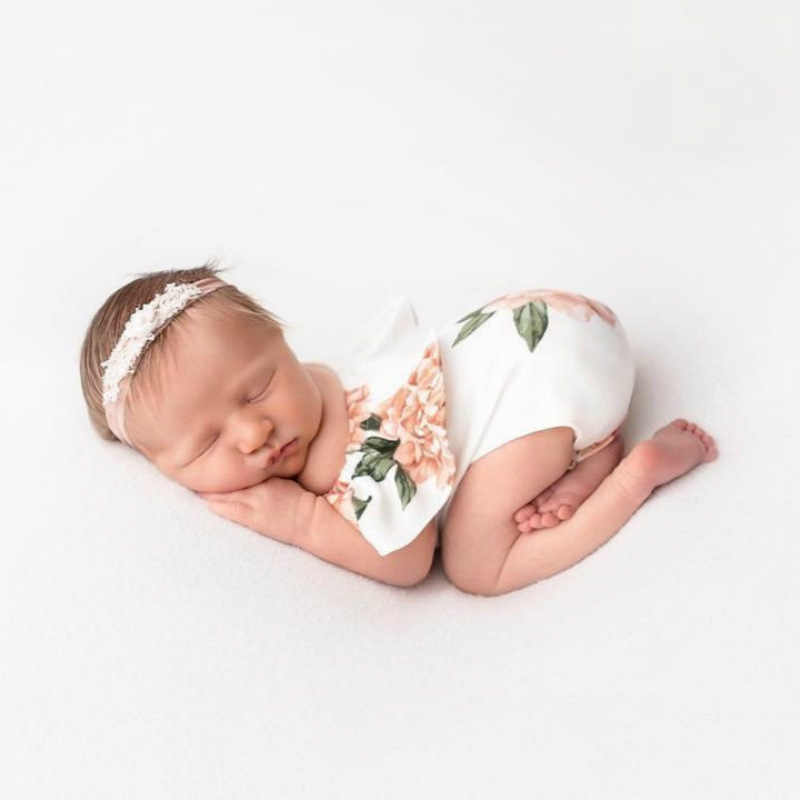 Hot Infant Newborn Baby Girl Cute Floral Jumpsuit Bodysuit Photo Prop Clothes Outfit Photography Props