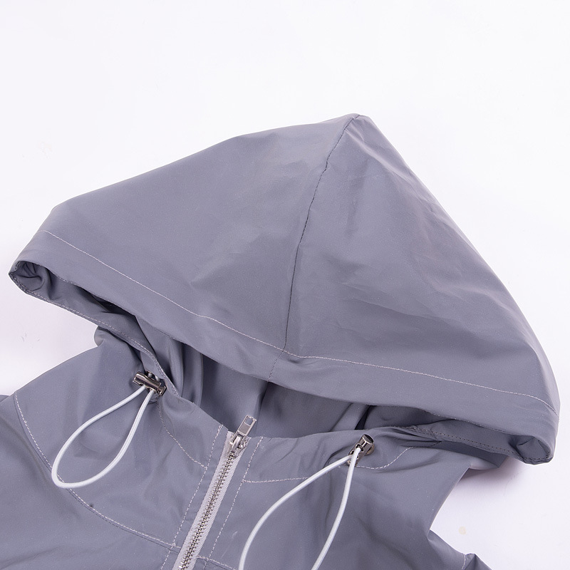 2019 fashion women 39 s reflective hooded drawstring stitching top street street running flash blouse in Hoodies amp Sweatshirts from Women 39 s Clothing
