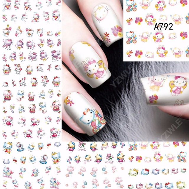 12 Sheets Beauty Hello Kitty Design Nail Art Water Transfer Decals