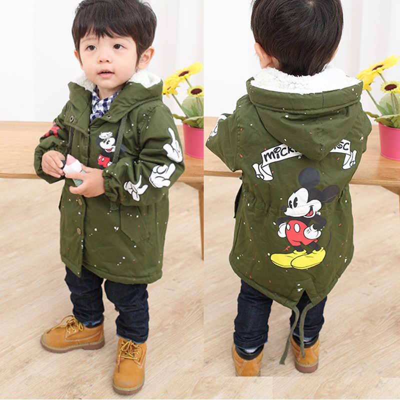 Baby Boys Girls Hooded Jacket Coat Spring Winter Kids Windbreaker for Boy  Plus Thicken Fleece Velvet Outerwear Children Clothes