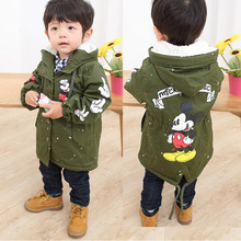 Baby Boys Girls Hooded Jacket Coat Spring Winter Kids Windbreaker for Boy Plus Thicken Fleece Velvet Outerwear Children Clothes(China)